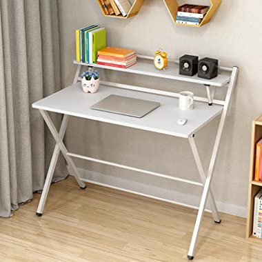 Floenr 32IN Folding Laptop Computer Desk Home Office Desk with Bookshelf Writing Table Wood Executive Desk Student Desk Moder