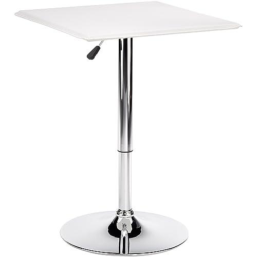 AMSTYLE Design Altona - Mesa alta con tablero de DM (60 x 60 cm, con funda de cuero de imitación), color blanco