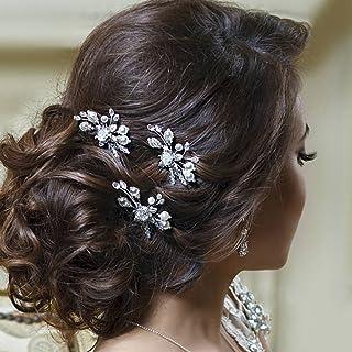 Aukmla 新娘婚礼发夹装饰水钻新娘发饰 适合女士和女孩 9cm