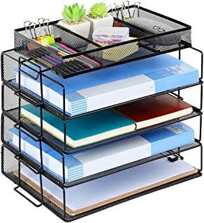 5 Tiers Stackable Letter Tray Office Desk Organizer A4 Paper Filing Trays Mesh Black