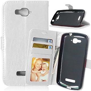 One Touch Pop C7 Carcasa+Cable Libre,FUBAODA Funda pistolera,Cover Cuero PU Billetera Case[Soporte de la función][ranuras de tarjeta]Case piel para Alcatel One Touch Pop C7(7041D 7040D)(blanco)