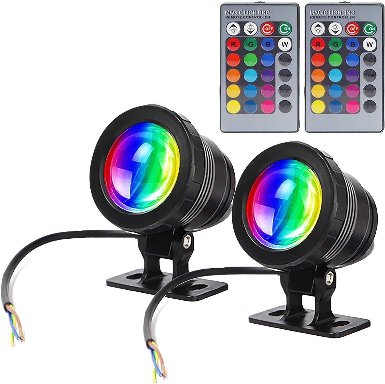 GOESWELL Iluminación LED subacuática para estanque, iluminación exterior, 12 V CC, 10 W, fuente al aire libre con mando a distancia, 16 colores ajustables, iluminación de jardín, pack de 2 unidades