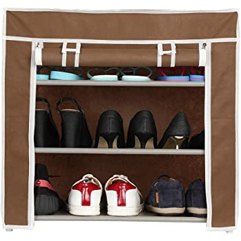 Harisons Homes Foldable Shoe Rack with 3 Shelves (Brown)