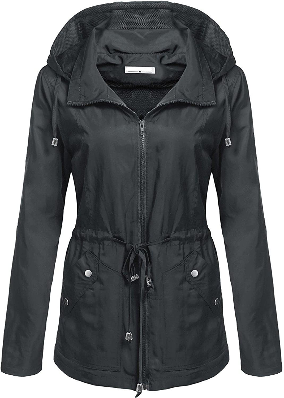 Elever Women's Detachable Hooded Drawstring Anorak Military Utility Jacket