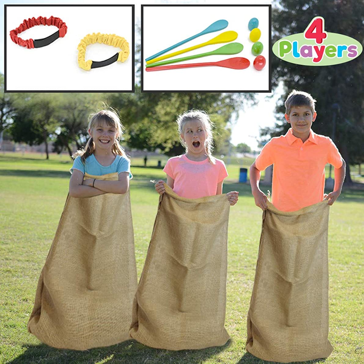 4 Players Outdoor Lawn Games; Potato Sack Race Bags, Egg and Spoon Race Games, Legged Relay Race Bands Elastic Tie Rope for All Ages Kids and Family, Outside Easter Eggs Hunt Game Party Favor Activities, Carnival Game Party Supplies.