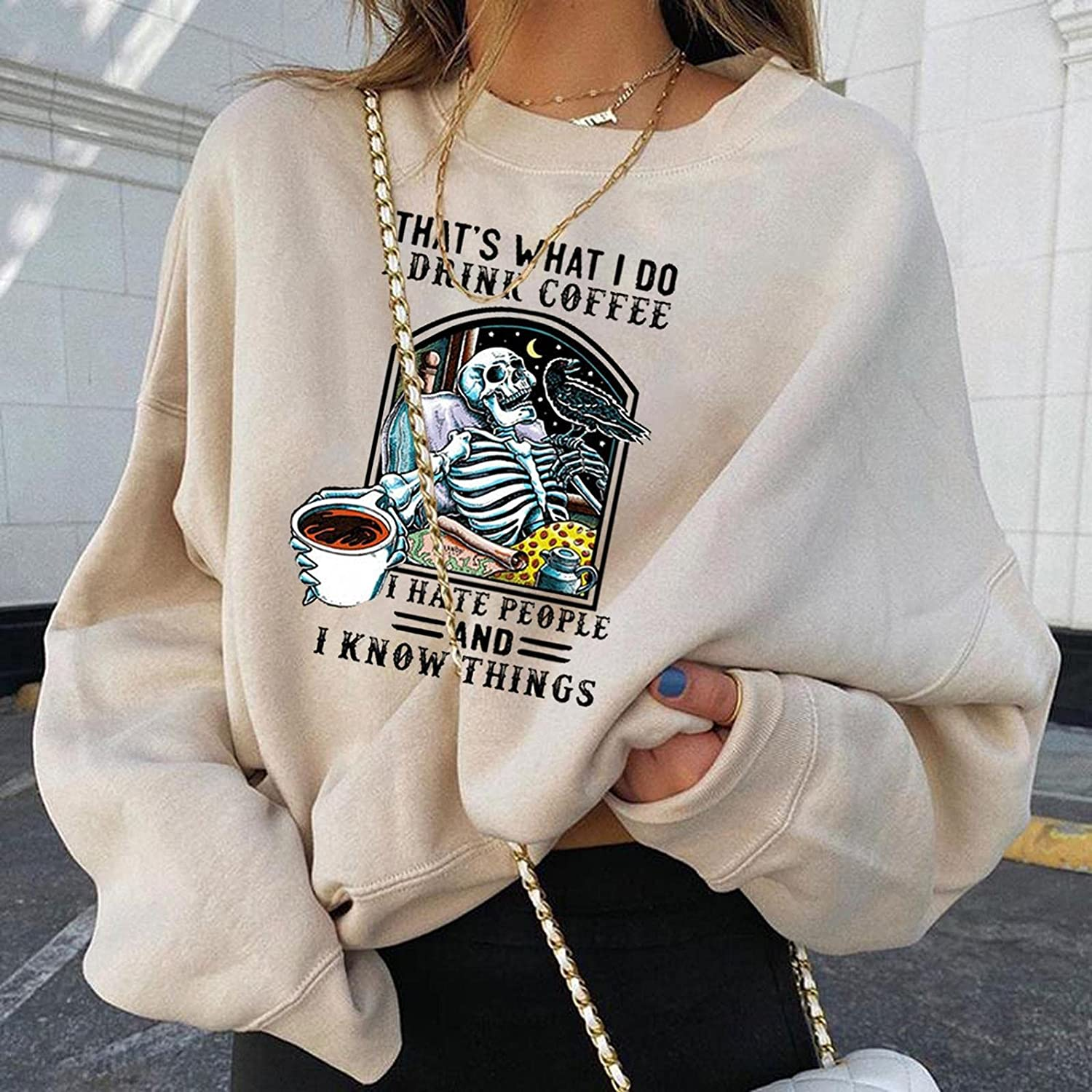AODONG Halloween Sweatshirts for Women, Womens Plus Size Tops Funny Skeleton Pumpkin Printed Oversized Pullover Shirts