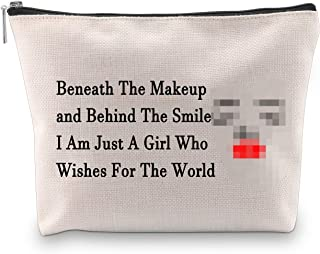 PXTIDY Beneath The Makeup and Behind The Smile I Am Just A Girl Who Wishes For The World Cosmetic Bag (beige)