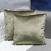 Sunfay Throw Pillows Set Velvet Soft Solid Decorative Cushion Case Covers for Sofa Couch Bedroom 18x 18 Taupe Pack of 2