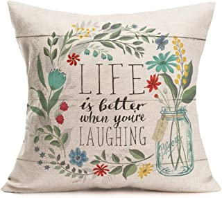 Fukeen Inspirational Quotes Throw Pillow Cases with Flower Bloom Leaves Decorative Cotton Linen Square Cushion Covers Home Garden Decor 18x18 Inch, Life is Better When You 're Iaughing