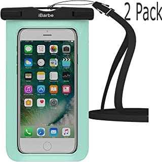Waterproof Case,2 Pack iBarbe Universal Cell Phone Dry Bag Pouch Underwater Cover for iPhone X 8 Plus 7 7 Plus 6S 6 6S Plus SE Samsung Galaxy Note s9 s s8 LUS S7 S6 Edge etc.to 5.7 inch,Teal