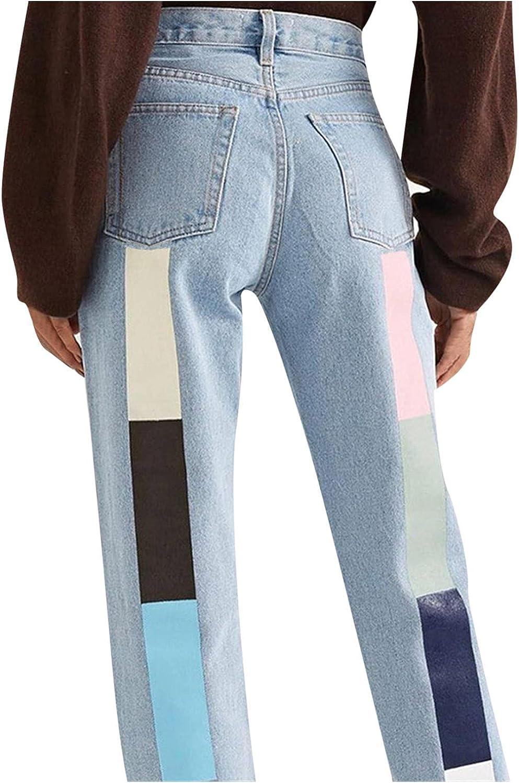 Euone_Clothes Jeans Pant for Women, Women Button High Waist Pocket Elastic Print Jeans Trousers Slim Denim Pants