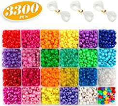 Pony Beads, 33,00 pcs 9mm Pony Beads Set in 23 Colors with Letter Beads, Star Beads and Elastic String for Bracelet Jewelry Making by INSCRAFT