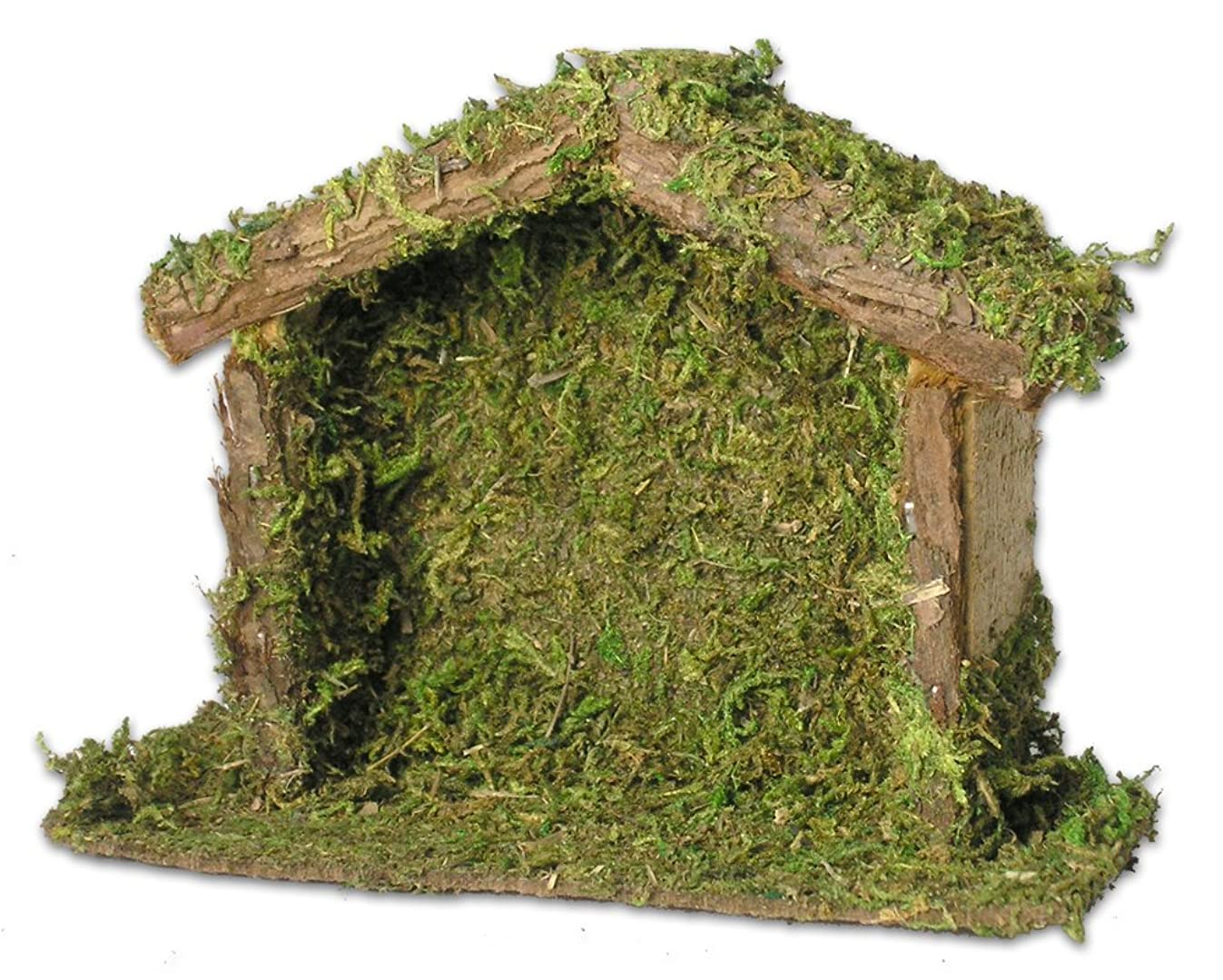 BANBERRY DESIGNS Wood Nativity Stable Creche 4 x 5.5 Inch