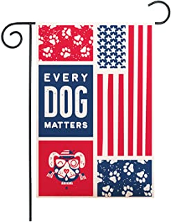 ZUEXT Dog Paw Print Garden Flag 12.5x18 Inch Double Sided Red & Blue Stripes US Flag Style, Burlap Decorative Pet Puppy Ho...