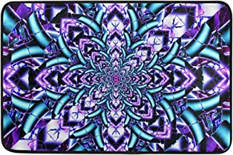 MASSIKOA Purple Blue Mandala Non Slip Backing Entrance Doormat Floor Mat Rug Indoor Outdoor Front Door Bathroom Mats, 23.6...