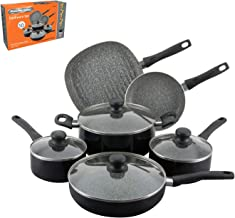 Aramco PAC601 ceramic non-stick Bakelite Handle Fry Pan, 10 Piece, Black