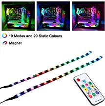 LEDdess Full Kit RGB LED Strip Computer Lighting via Magnet for Desktop Computer Case Mid Tower Full Tower (5050 SMD 2pcs 15leds 30cm, Rainbow Fan kit Extension, A Series)