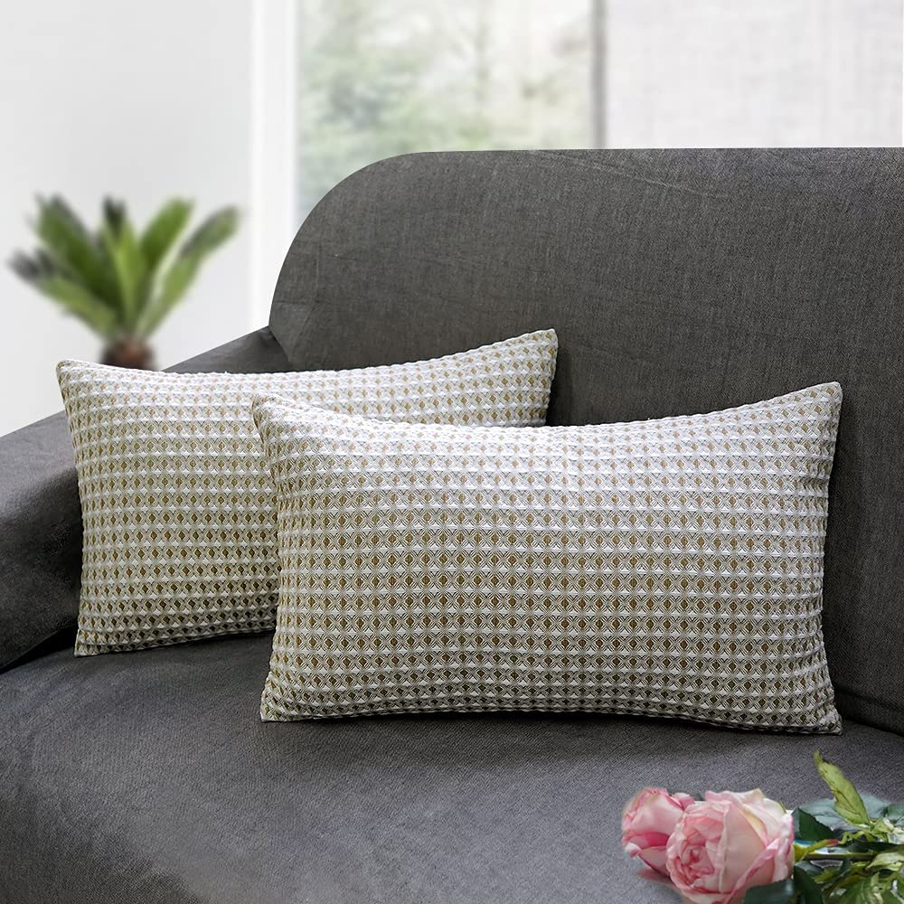 Zenssia Cotton Popularity Throw Pillow Cover Pack of 2 trend rank Waffle Soft Cozy