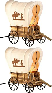 JedaJedaTable Lamps Western Decor Set of 2 Cowboy Covered Wooden Wagon Antique Handcrafted