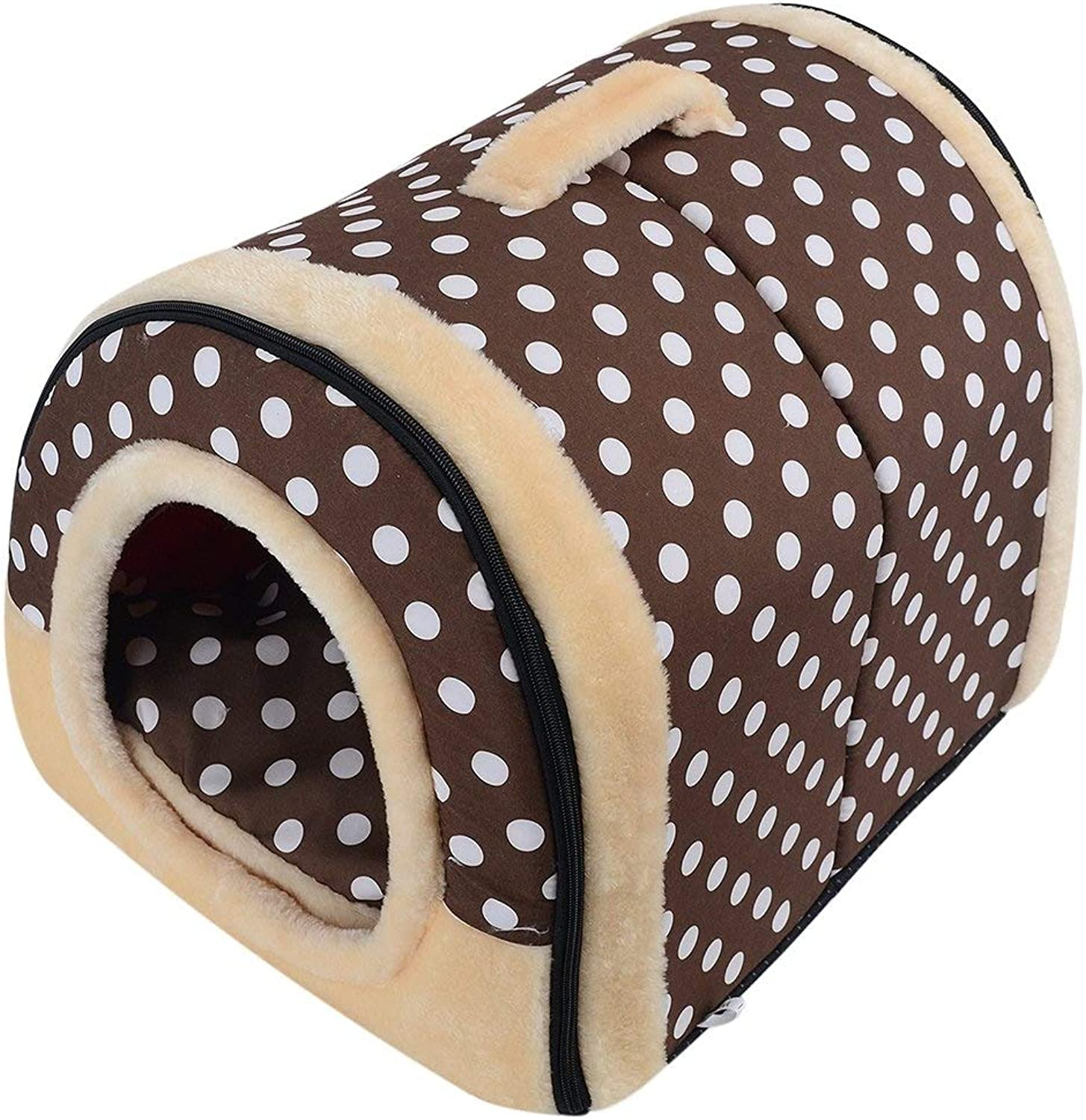 Nest Dog Bed Kennel Cat Cave Cat House Indoor Portable Collapsible Dog Room Cat Hole Small Animal Beds (color   Brown, Size   M)