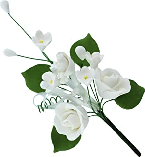 Global Sugar Art Rose Premium Sugar Cake Flowers Spray, Small, White, 1 Count by Chef Alan Tetreault