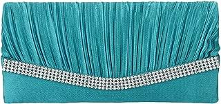 Elegant Satin Diamante Pleated Evening Clutch Bag Bridal Handbag Prom Purse New - Turquoise