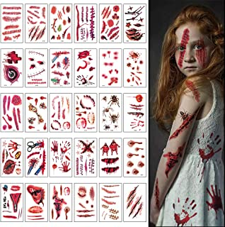 CrzPai 30 Sheets Halloween Zombie ScarsTattoos Stickers Bloody Wound Scab Cosplay Party SuppliesTemporary Tattoos Costume Makeup Props