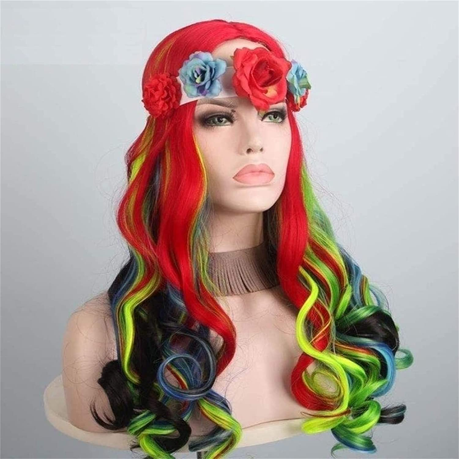 Max Max 56% OFF 60% OFF LCNING Wig Wigs Sweet Long Wavy with Flower Bwokno Colorful