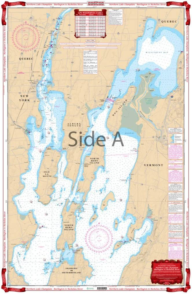 Waterproof Charts, Standard Navigation, 12 Northern Lake Champlain - Burlington to Richelieu, Easy-to-Read, Waterproof Paper, Tear Resistant, Printed on Two Sides, 2 Charts in 1, NOAA ChartsRiver
