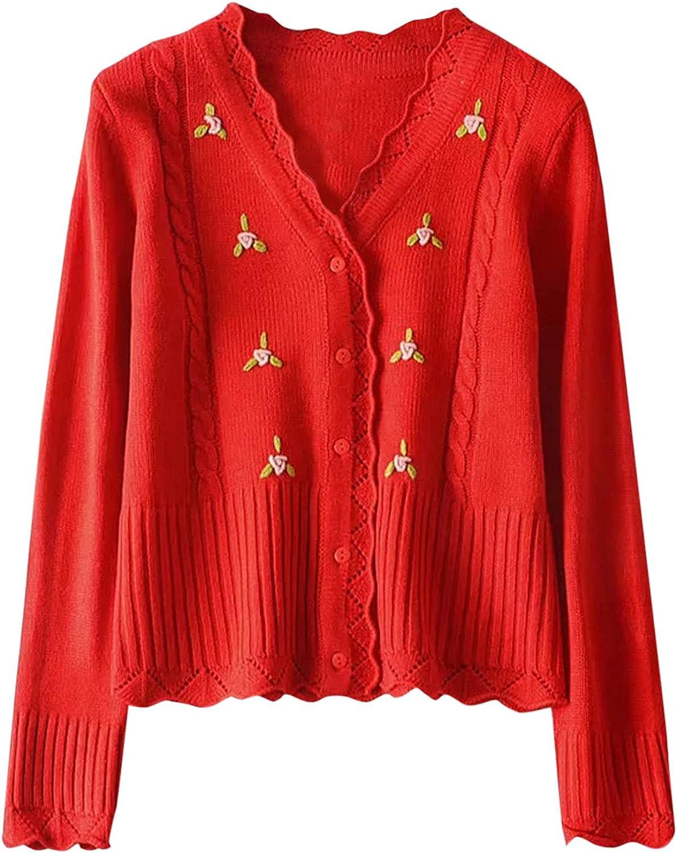 Women Sweater Coat Cardigans Flower Embroidery Kawaii Sweater Long Sleeve Short Cardigan Cropped Top Open Front Sweater
