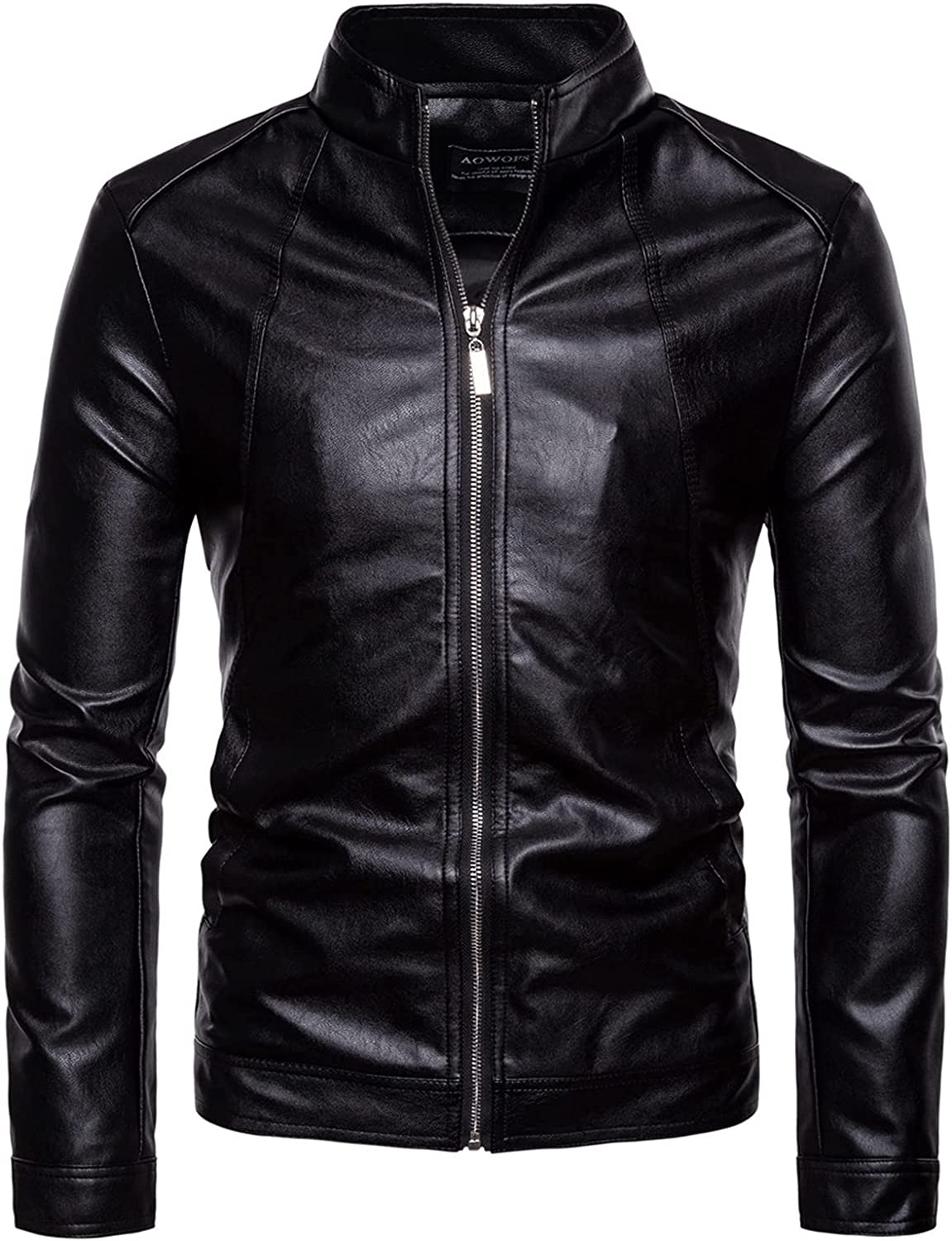 Men's Casual Faux Leather Jackets,Stand-Up Collar Sportsman Motorcycle Leather Jacket,Casual Fashion Outer Coat