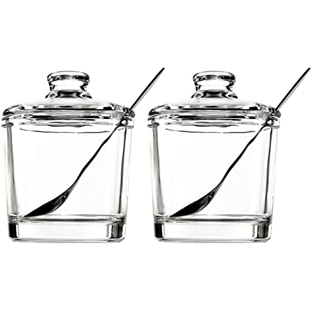 Vencer Set Of 2 Clear Glass Sugar Bowl With Lid And Stainless Steel Sugar Serving Spoon Slate Stone Tray Condiment Pots Bar Kitchen Home Decor 6 3 Ounces 180 Ml Each