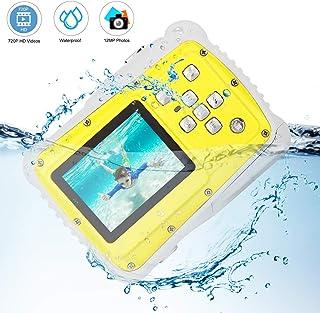 Bybrutek Cámaras para Niños Cámara de Video Impermeable 3M para Niños HD 12MP/720P LCD de 2 Pulgadas 8X Zoom Digital Cámara Digital CMOS de 5 MP (Yellow)