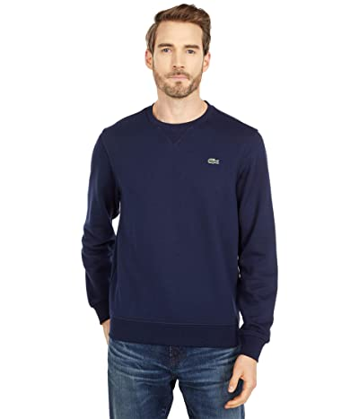 Lacoste Long Sleeve Solid Color Sweatshirt (Navy Blue/Navy Blue) Men