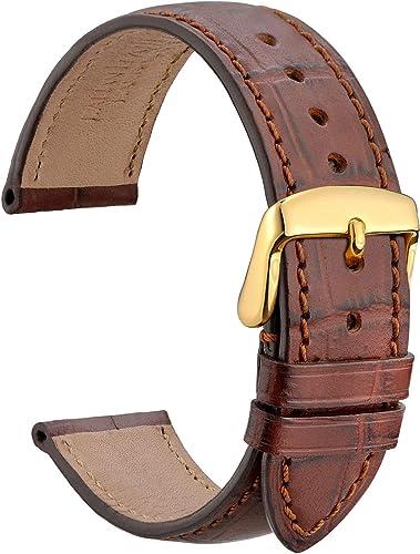 WOCCI Bracelet de Montre en Cuir Embossé Alligator avec Boucle en Acier Inoxydable, Bracelets de Rechange 18 mm 19 mm...