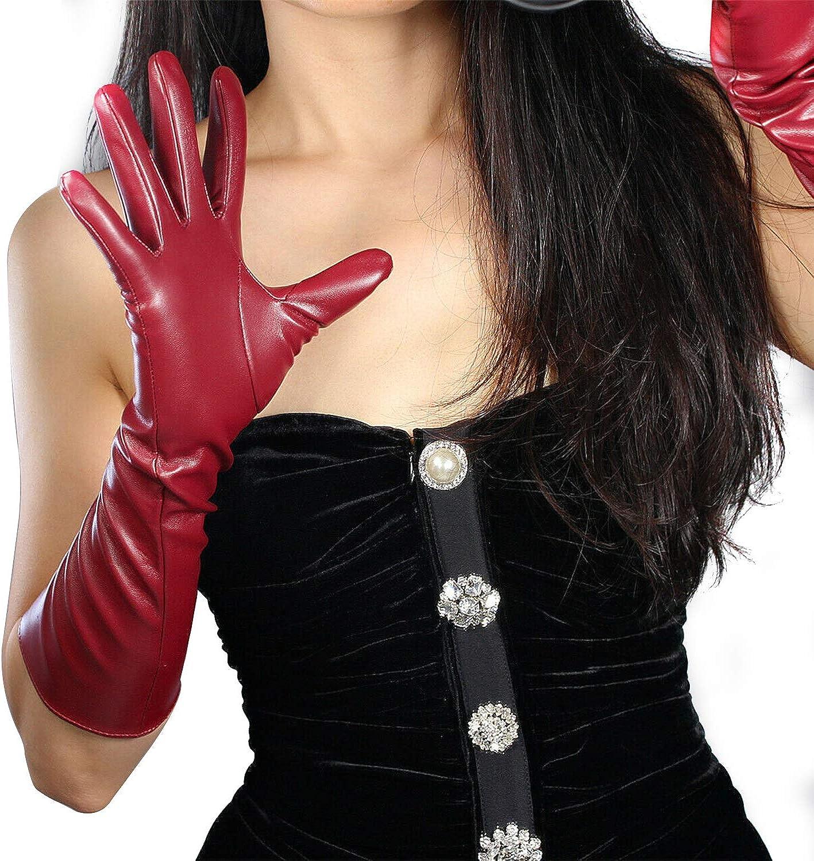 DooWay Women's Fashion Long Soft Leather Gloves Faux Leather PU Burgundy Fancy Evening Opera Gloves