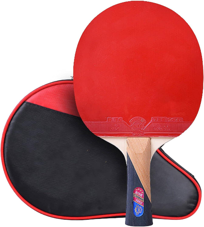 HXFENA Raquetas de Tenis de Mesa,Bate de Tenis de Mesa Ofensiva Profesional de 4 Estrellas,Excelente Control Y Flexibilidad para la Actividad Familiar Principiante/A/mango la