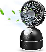 【2019最新版&加湿機能搭載】usb扇風機 卓上扇風機 USB充電式 usbファン 大風量三段階調節 静音 小型 ミストファン 加湿器 2000mAh長時間連続使用 熱中症対策 (ブラック)