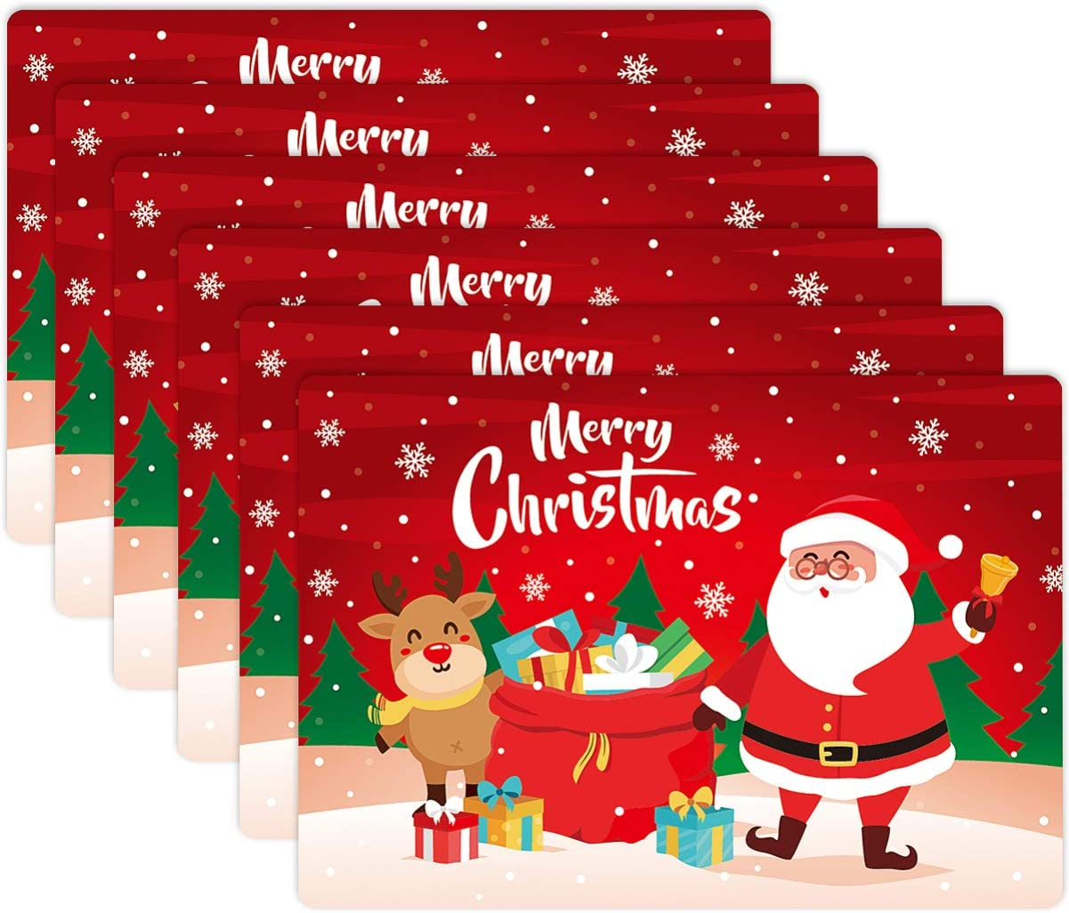 BESTonZON 6PCS Cute Christmas Place Mats Table Mats Merry Xmas Placemats for Dining Room Kitchen Table Decor (43x30x0.05cm)