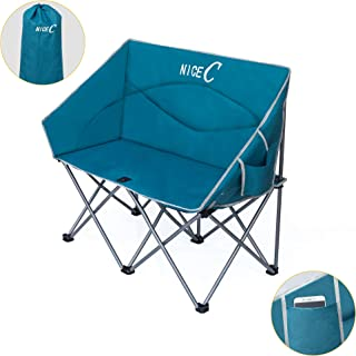 Nice C Double Camping Chair, Loveseat, Oversized Folding Camp seat with Strap Carry Bag