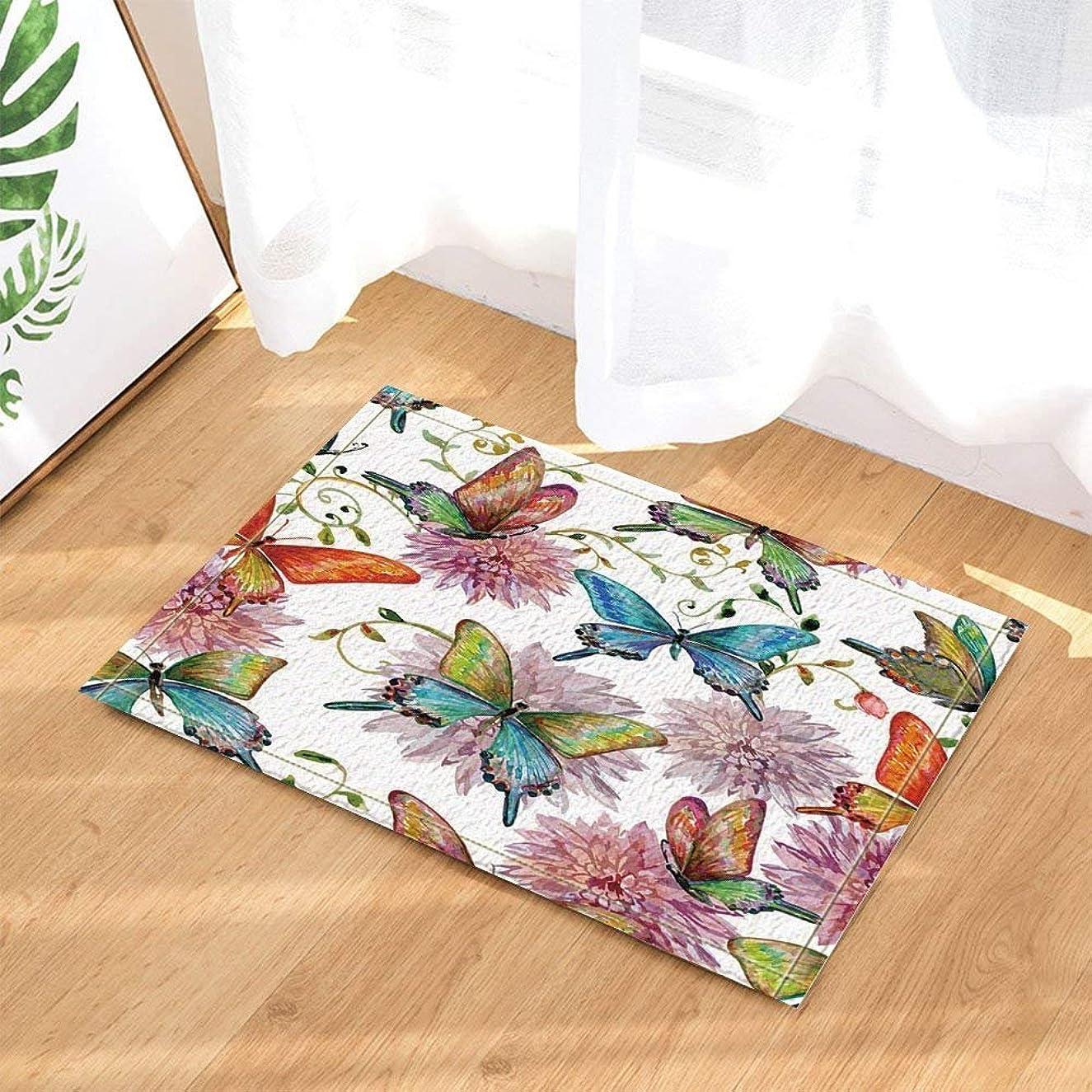 Watercolor Flowers Decor Wildlife Butterfly and Flower Against White Backdrop Bath Rugs Non-Slip Doormat Floor Entryways Indoor Front Door Mat Kids Bath Mat 15.7x23.6in Bathroom Accessories