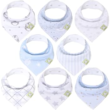 Baby Bandana Drool Bibs - Bandana Bibs for Boys, Girls by KeaBabies- Super Absorbent Bandana Drool Bibs - Teething Bibs - Organic Cotton Baby Bibs for Infant, Toddler - 8 Pack Bibs Set (Constellation)