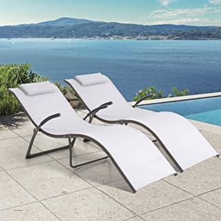 Crestlive Products Patio Folding Chaise Lounge Chairs, Outdoor Portable Reclining Lounger, All Weather Furniture in Brown ...