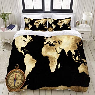 """Mokale Bedding Duvet Cover 3 Piece Set - Golden World map and Compass - Decorative Hotel Dorm Comforter Cover with 2 Pollow Shams - King 104""""x90"""""""