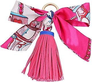 Reizteko Pretty Silk Like Scarf & Leather Tassels Keychain Backpack Keyring Purse Pendant Handbag Charm (Rose)