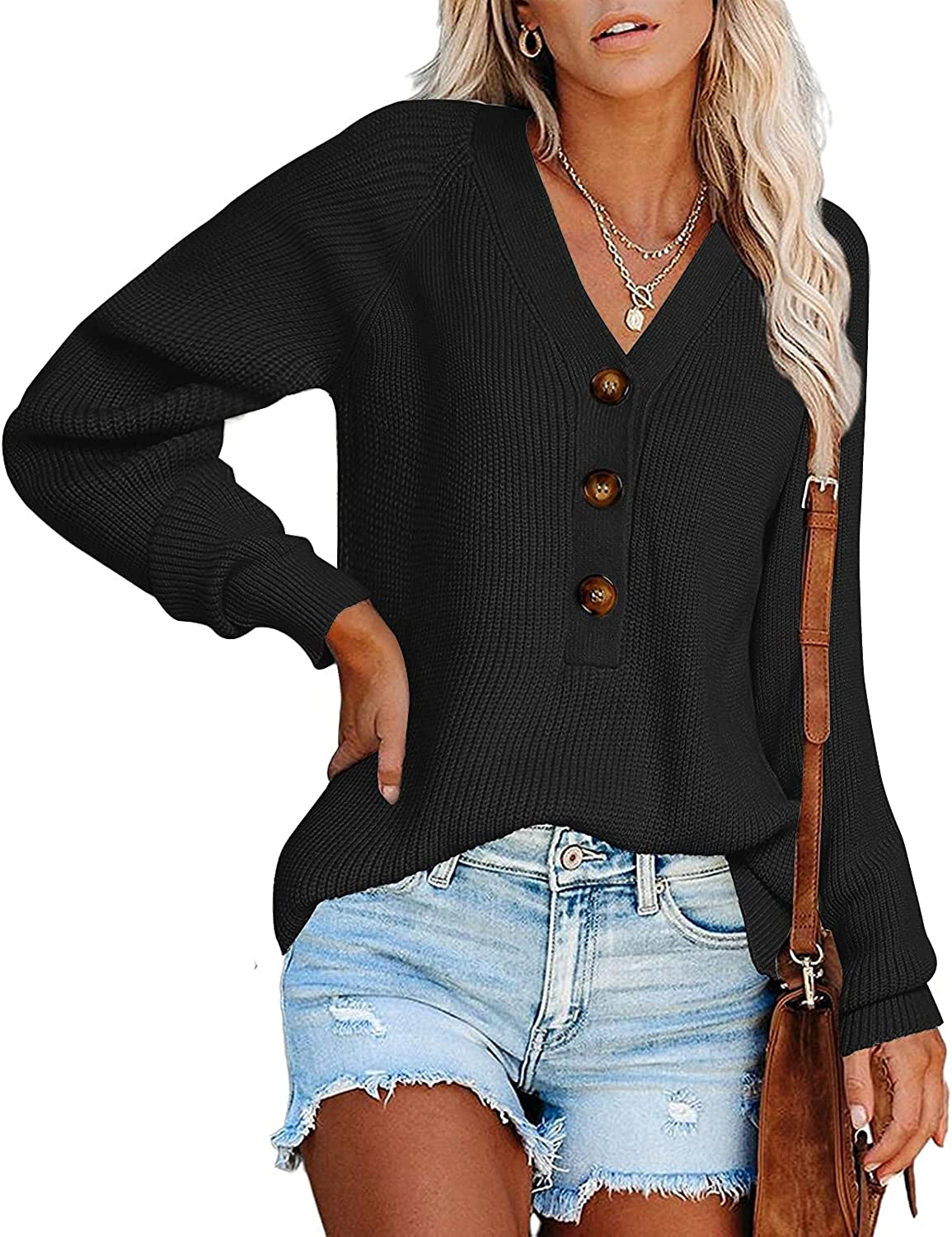 BTFBM Long Sleeve V Neck Button Down Sweater Solid Color Ribbed Knit Sweater Casual Relaxed Fit Pullover Cute Jumper