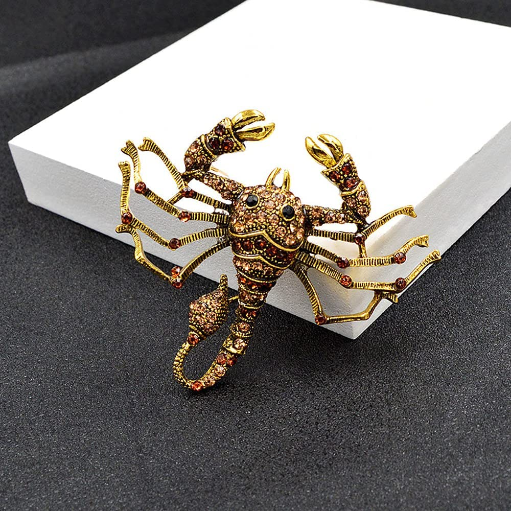 Vintage Style Crystal Scorpion Animal Brooch Insect Rhinestone Lapel Pin Fashion Jewelry Brooches Accessories for Men Women