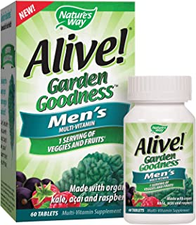 Nature's Way Alive! Garden Goodness Men's Multivitamin, Veggie & Fruit Blend (1400mg per serving), Made with Organic Kale,...