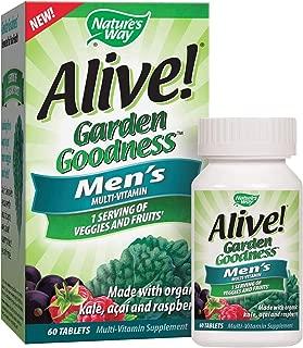 Nature's Way Alive! Garden Goodness Men's  Multivitamin, Veggie & Fruit Blend (1400mg per serving), Made with Organic Kale, 60 Tablets