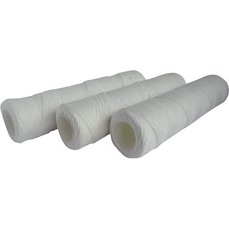 """AQUAWATER - 105004 - Lot de 3 cartouches filtrante anti-sédiments bobinée 20 microns - Taille standard 10"""", pour filtrer les impuretés de l'eau du réfrigirateur - Durée : 6 mois - Fabriqué en France"""